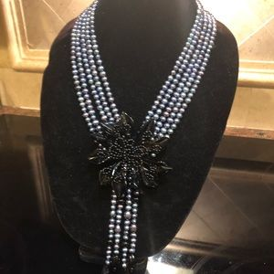 Jewelry - Exquisite Statement Necklace of Genuine Onyx&Pearl